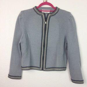 St. John light blue zip up cardigan sweater size 4